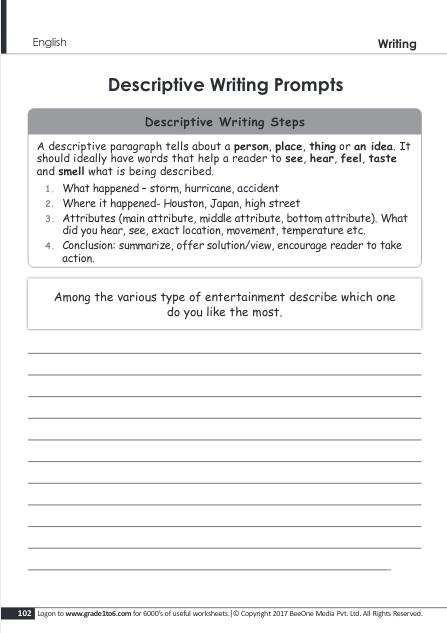 Descriptive Writing Worksheets Grade 5 www.grade1to6.com