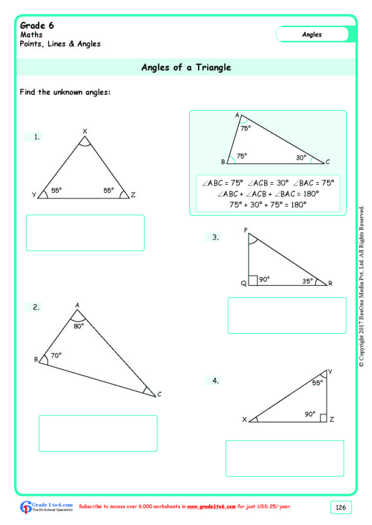 Grade 6 Class Six Angles Of A Triangle Worksheets Www Grade1to6 Com