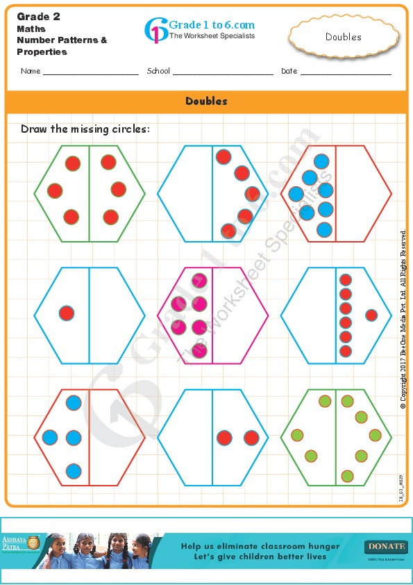 Grade1to6. Draw The Missing Doubles. Worksheet. Doubling Worksheet Year 1 At Clickcart.co